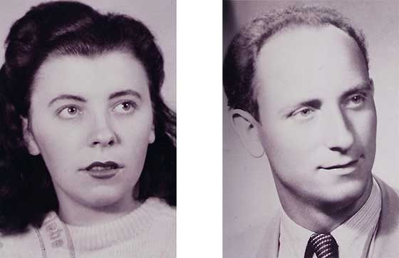 Black and white portraits of a dark haired woman and a man wearing a tie
