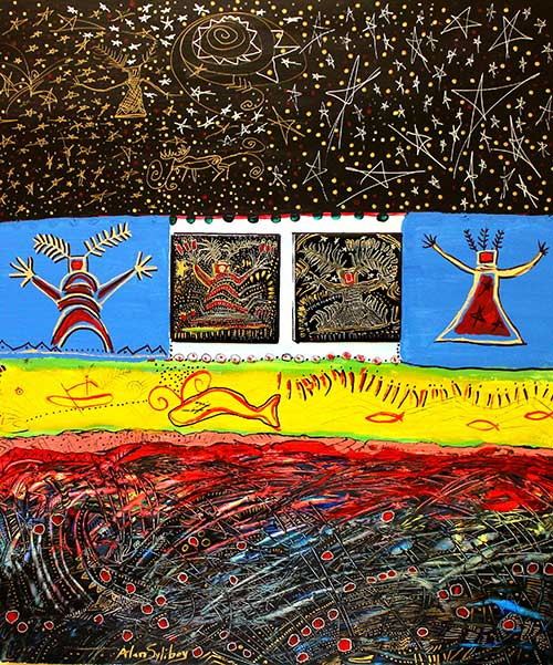 Multicoloured acrylic painting depicting petroglyphs of human figures and aquatic animals.