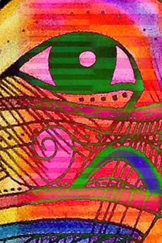 Multicoloured image of an abstract eye is a still image from the Petroglyph/Electroglyph video art installation