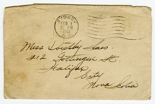A yellowed envelope, hand addressed to Dorothy Sears at a Halifax address, the postage stamp reads Sydney, NS