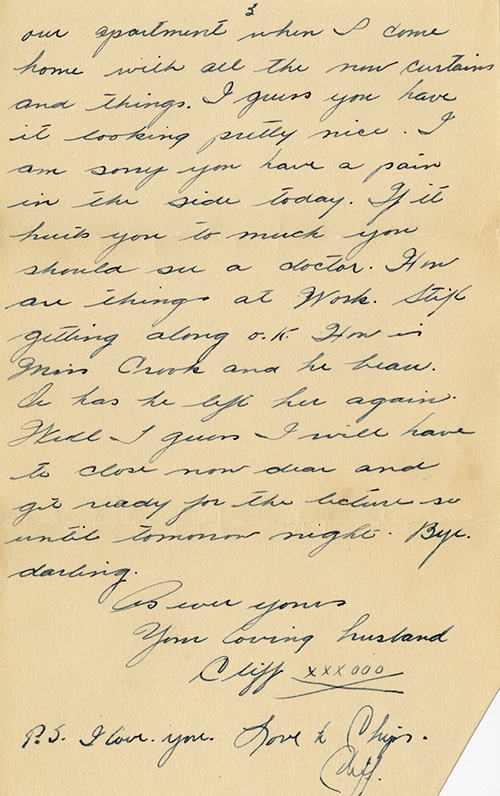 The last page of a yellowed hand-written letter, signed As ever yours, your loving husband Cliff