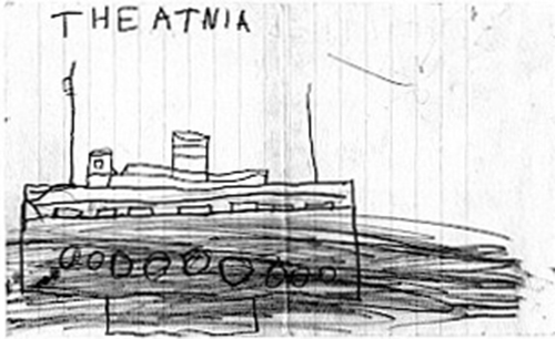 A child's drawing of a ship.