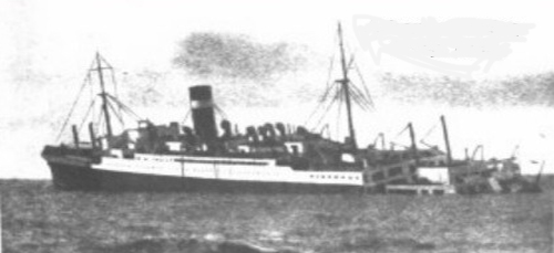 Very old faded image of a ship.