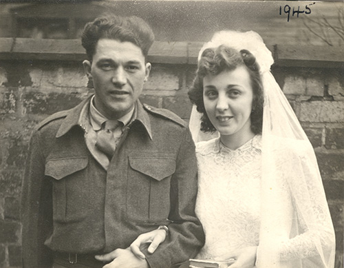 Beautiful portrait of a wedding couple, the year 1945 is hand-written in the upper right corner.